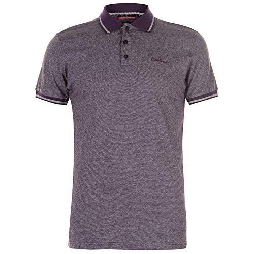 (Pierre Cardin Mens Engineered Thin Stripe Polo with Signature Embroidery (Medium, Purple/Silver))