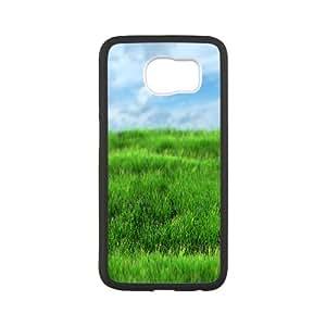 Samsung Galaxy S6 Case Antislip Realistic Grass, Grass Samsung Galaxy S6 Cases for Men [White]