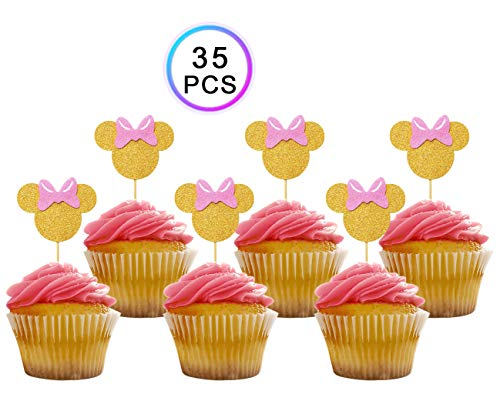 ZOIN 35Pcs Gold and Pink cupcake toppers Birthday Baby shower Minnie Theme Party Decoration Supplies Double Sided Gold Glitter