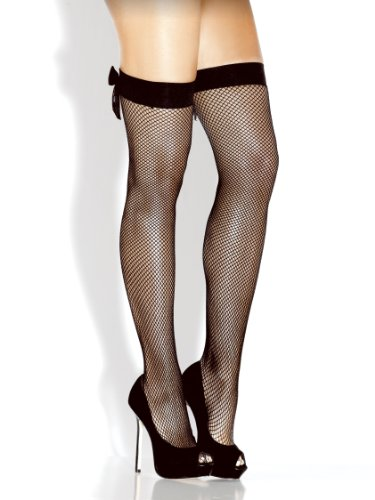 - Desire Hosiery-White Basic Fishnet W/ Satin Ribbon Bow Thigh High-One Size