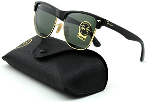 Ray-Ban RB4175 Clubmaster Oversized Unisex Square Sunglasses (Shiny Black Arista Frame, Crystal Green Lens - Clubmaster Oversized Rb4175