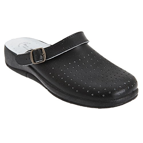 SAN Malo Womens/Ladies Swivel Bar Clogs (8 US) (Black) For Sale