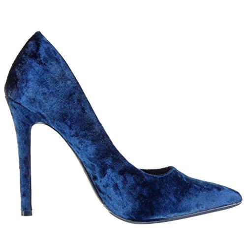 Angkorly - Zapatillas de Moda Tacón escarpín stiletto sexy decollete mujer Talón Tacón de aguja alto 11 CM - Azul