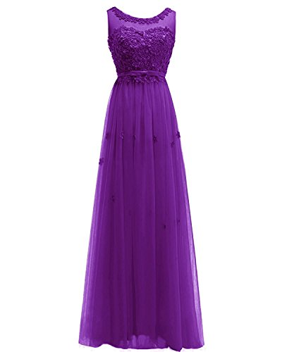 Prom Women's Tulle Long Handmade Gown Evening ASBridal Dress Dress Bridesmaid Flowers Purple OBqdzzw