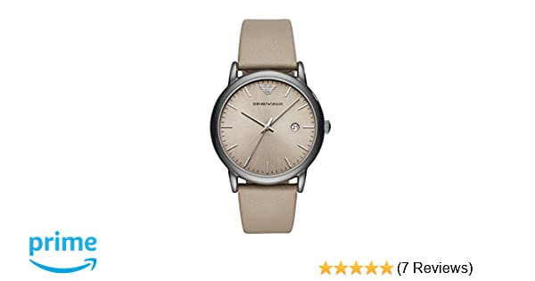 Emporio Armani Mens Dress Stainless Steel Quartz Watch with Leather Calfskin Strap, Grey, 22 (Model: AR11116)