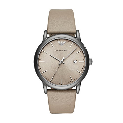 Emporio Armani Men's Dress Stainless Steel Quartz Watch with Leather Calfskin Strap, Grey, 22 (Model: AR11116)