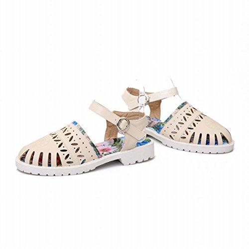 Carol Schoenen Mode Dames Gesp Hol Bloemmotief Casual Comfort Flats Sandalen Beige