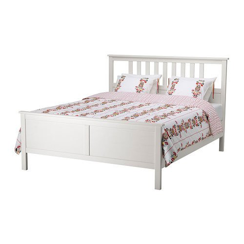 Amazon.com: Ikea Hemnes Queen Bed Frame White Wood: Kitchen & Dining