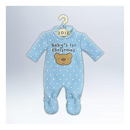 2012 Hallmark BABY BOY'S 1st FIRST CHRISTMAS Ornament Blue PJs Pajamas Onesie