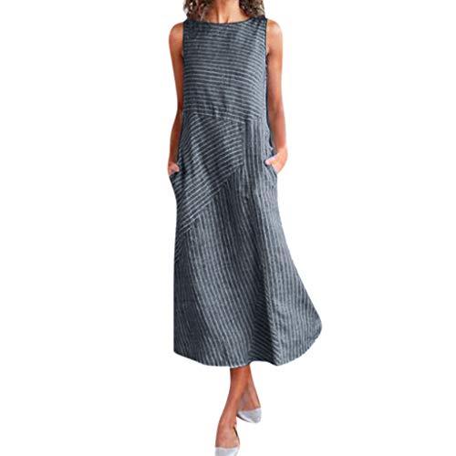 Summer Dresses for Women Miuye Women Casual Striped Print Sleeveless Dress Crew Neck Linen Pocket Long Dress Navy