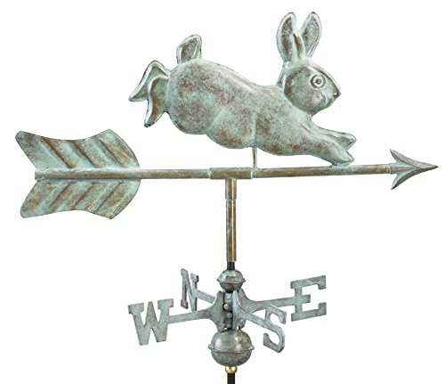 Good Directions Rabbit Garden Weathervane with Garden Pole, Blue Verde Copper by Good Directions