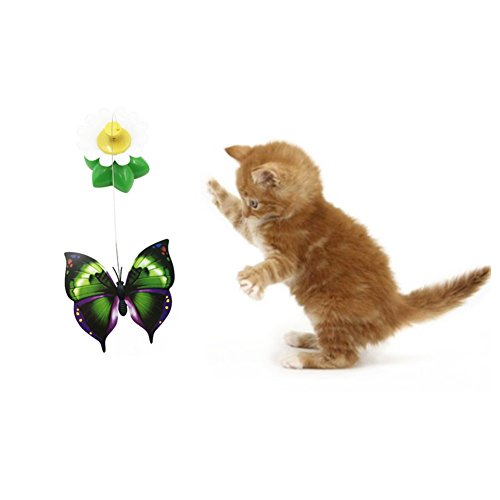 41hbphxpPsL - Patgoal Funny Cat Toys Electric Rotating Butterfly Birds Steel Wire Cat Teaser Fly Toy