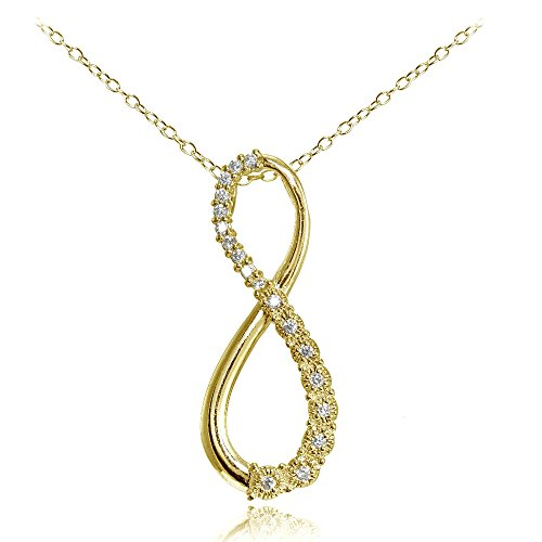 Yellow Gold Flashed Sterling Silver Cubic Zirconia Infinity Figure 8 (Figure Eight Gold Necklace)