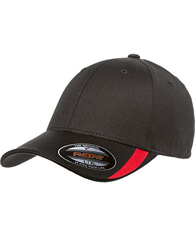Flexfit V-Flex Swoosh Cap. 5006 - Black / Red - (Swoosh Flex Cap)