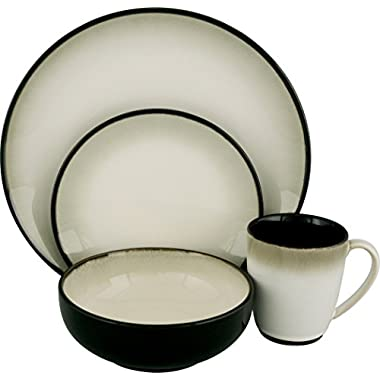 Sango 16 Piece Nova Dinnerware Set, Black