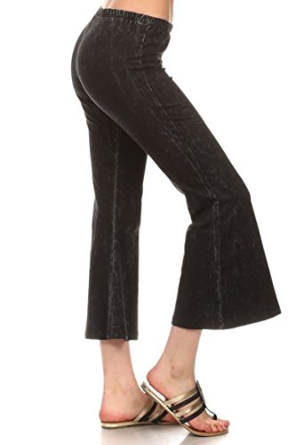 (Zoozie LA Women's Culottes Bell Bottoms Stretch Pants Black XL (Also Fit 1X)