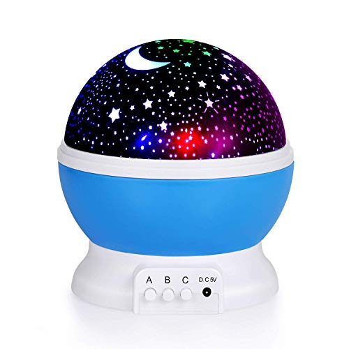 House of Quirk Night Light Lamps for Bedroom Romantic 360 Degree Rotating Star Projector Lights Color Changing LED for Kids Girls Baby Nursery Gift – Color AS PER Availability