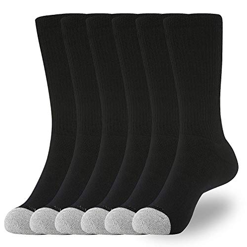 WANDER Men's Crew Socks for Boots 6-Packs Cotton Full Cushion Socks Men Black 10-13