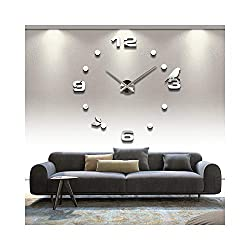 Alrens_DIY(TM) Arabic Numerals Birds Dots DIY Frameless 3D Big Mirror Surface Effect Wall Clock Watches Home Living Room Bedroom Office Decoration Self-adhesive Wall Sticker Decor (MQ-008-Silver)