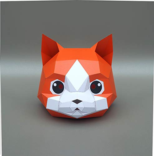 Creative And Unique Halloween Costumes (Fashion Cat Kitty Kitten Animal 3D Paper Mask Party Halloween Helmet DIY Cosplay Costume Mask Creative Handwork)