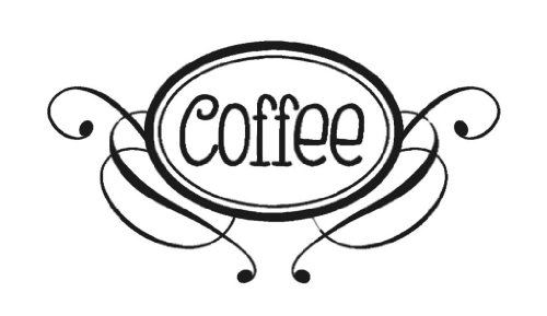 (Coffee Swirls for Glass Jars Outdoor Glossy Vinyl Sticker Lettering Decal 9Wx5H Glossy)