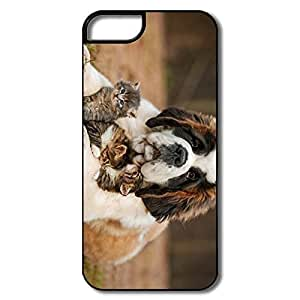 IPhone 5 Cases, Cute Cats Dog Cases For IPhone 5/5S - White/black Hard Plastic