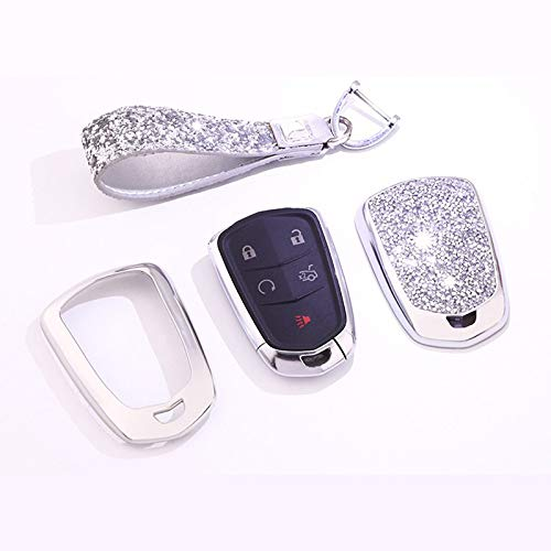 - Royalfox(TM) 4 5 6 Buttons 3D Bling keyless Entry Remote Smart Key Fob case Cover for 2016-2018 Cadillac CT6, 2017-2018 XT5, 2014-2018 CTS, 2015-2018 XTS SRX ATS Accessories,with Keychain (Silver)
