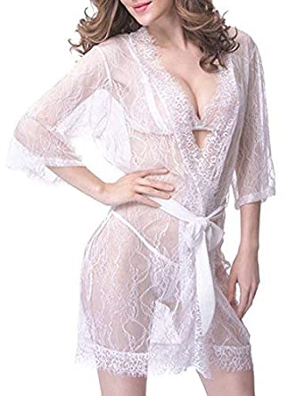 383d648a737cef Amazon.com  Sex Moment Women White Lace Sexy Sheer Lingerie Kimono Robe See- Thru Sleepwear  Clothing