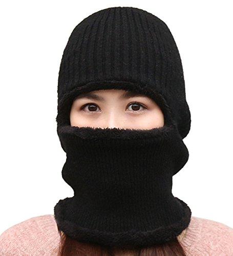 Beanie Invierno DELEY Gorro 1 A Polar Prueba Lana Punto De Hat De Pasamontañas Mujeres Negro Viento Forro Hombres Sombrero De qrwx8a1Xq