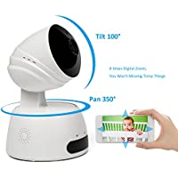 Mini IP Camera, Elebor 1080P HD Home Security Surveillance Baby Monitor Camera with Night Vision Two-Way Audio Motion Detect Alert and SD Card Slot Video Recording for Security System White
