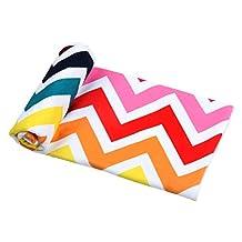Winthome Large Printed Wave Striped Beach Towel Microfiber Towel for Beach/ Bath/ Yoga/Gym (Wave Stripe, 1pc 28x55 Inch)
