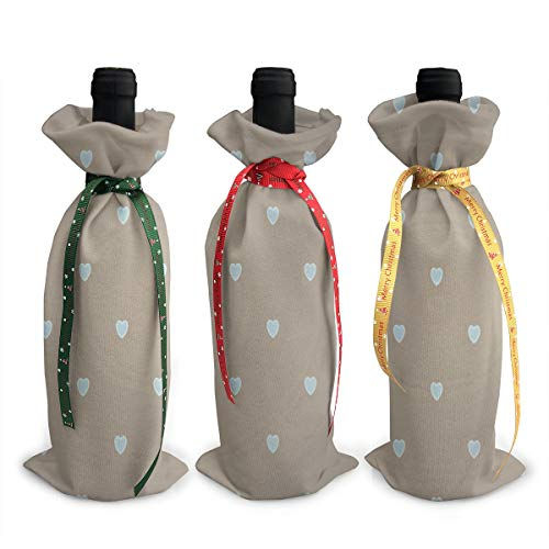 Love Heart Polka Dot Grey Wine Bags Wraps Dresses Reusable Beer Red Wine Bottle Gift Bags Travel Protector Package 3 Pack