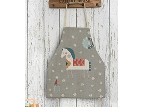 Gelaiken Perfect Cotton Linen Cartoon Snowflake Animal Horse Printed Apron Hanging Neck Sleeveless Woman