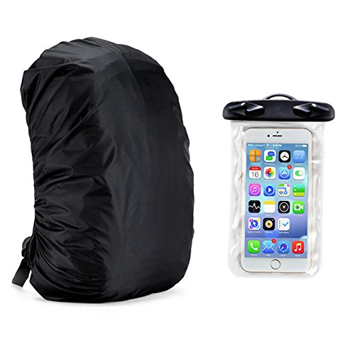 UltraLight Backpack Rain Cover With PU Stored Bag & Cellphone Waterproof Case, 55-80L For Camping,Hiking,Cycling, Universal Waterproof Case for Iphone7, 7Plus, Iphone 6, 6Plus by CTRICKER
