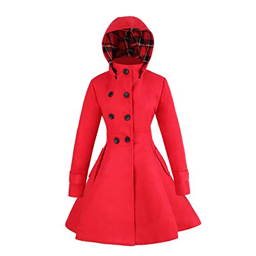 Women Winter Swing Double Breasted Wool Pea Coat Dress with Hood Spring Mid-Long Long Sleeve Standing Collar Dress Coats (red, L)