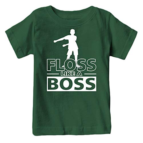 Kids Floss Like a Boss Flossin Dance Youth T Shirt (Forest Green, Youth -