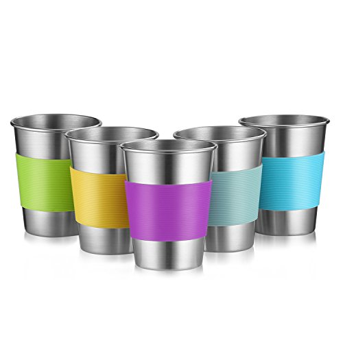 Stainless Steel Cups for Outdoor Indoor Activities and Kids, 12 Oz Metal Drinking Tumbler Unbreakable Beer Cups None BPA, Set of 5 (5) by Qrooper