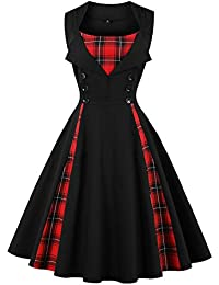 Women's Vintage 1950s Rockabilly Polka Dots Audrey Dress Retro Cocktail Dress