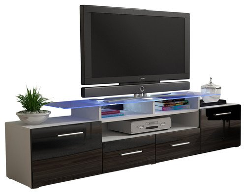 MEBLE FURNITURE & RUGS TV Stand Vegas Matte Body High Gloss Doors Modern TV Stand (White/Black) (Gloss Modern High)