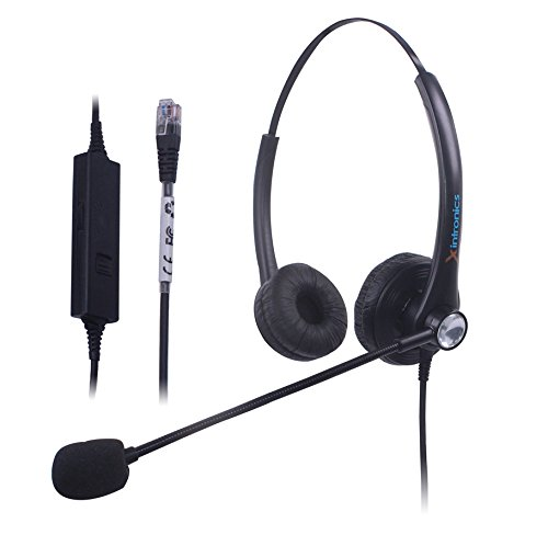 Xintronics Wired Telephone Headset Mono w/ Noise Canceling Mic for NEC Aspire Dterm Nortel Norstar Meridian Plantronics Polycom ShoreTel Siemens ROLM Toshiba Zultys Packet8 Landline Deskphones (Internet Headset Phone)