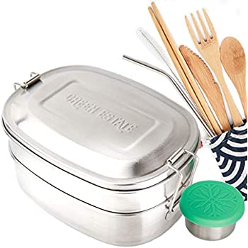 Green Estate Stainless Steel Bento Lunch Box, Bamboo Cutlery Set, Stainless Steel Straw, and Leakproof Sauce Container