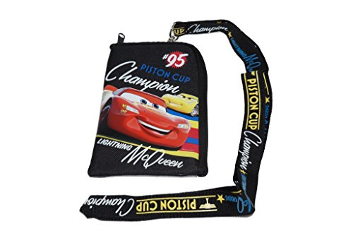 Disney Cars Black Lanyard with Cell Phone Case or Coin Purse -
