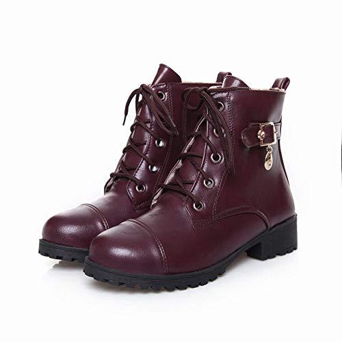 Zj Tendencia Mujer De zapatos E 37 Zapatos Bajo Encaje Café Invierno Botas Otoño botas 43 Moda Tacón Martin rqEwrpO