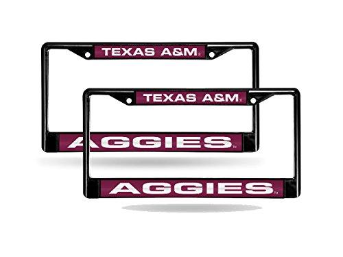 - Rico Texas A&M Aggies NCAA Black Metal (2) Laser License Plate Frame Set