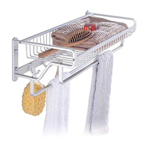 Mmugfdfhf WYD, Space Aluminum Bath Shelf Wall Mount Towel Rack Towel Rack Impact-Resistant Double-End 2-Layer Pendulum Hanger (400mm, 490mm, 450mm) (Size: 490mm) (Color : -, Size : 450mm)
