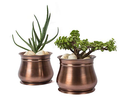 s with Tray – Set of 2 - Outdoor & Indoor Use – Round, Succulent Flower Herb Box for Home, Patio, Garden, Deck, Balcony – Antique Copper GAR607A ()