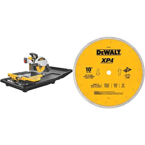 Why Choose DEWALT D24000 1.5-Horsepower 10-Inch Wet Tile Saw with DEWALT DW4764 10-Inch by .060-Inch Premium XP4 Tile Blade Wet