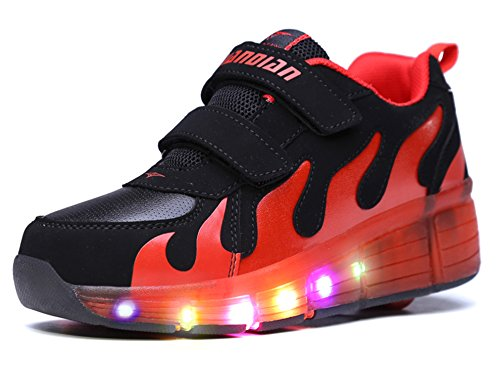 Mr.Ang con Luces LED Coloridos Parpadeante Neutra ruedas de Patines de Rueda Patín Zapatos Zapatos del Patín Zapatos Deportivos Niños y Niñas de Calzado Deportivo Zapatos de Skate JD031 negro rojo