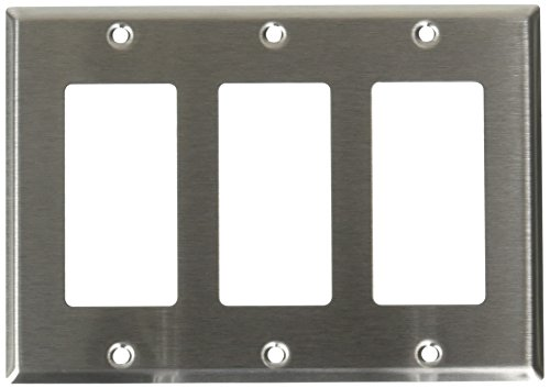 Gang Decora Leviton 3 Nylon (Leviton 84411-40 3-Gang Decora/GFCI Device Decora Wallplate, Device Mount, Stainless Steel, 10-Pack)