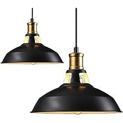 "2pcs Vintage Pendant Lamp, Motent Industrial Retro Metal Dome/Bowl Shaped Hollowed Out Hanging Light, Antique 1-Light Iron Wrought Island Lighting Fixture, 11"" Dia for Loft Resturant Kitchen - Black"